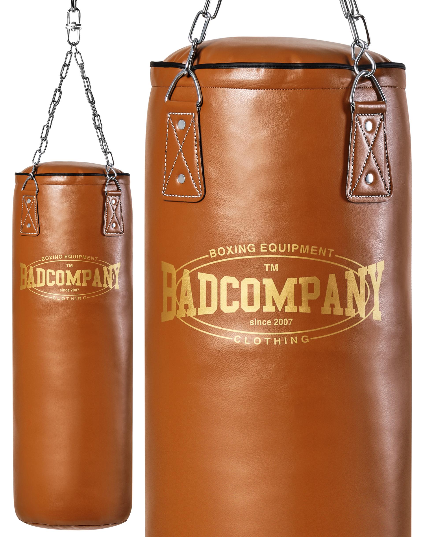Bad Company Profi Retro Box-Set inkl Leder Boxsack 120 x 35cm ungef/üllt braun PU Boxhandschuhe Deckenhalterung und Vierpunkt-Stahlkette